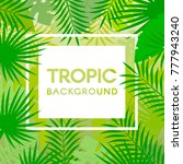 tropical leaves with frame.... | Shutterstock .eps vector #777943240
