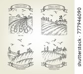set of farm landscapes with... | Shutterstock .eps vector #777946090