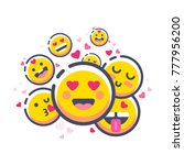 set of cute valentine emoticons ... | Shutterstock .eps vector #777956200
