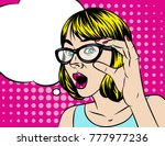 pretty girl vector cartoon... | Shutterstock .eps vector #777977236