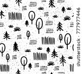 abstract doodle forest seamless ... | Shutterstock . vector #777977446