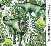 watercolor tyrannosaurus rex... | Shutterstock . vector #777999133