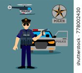 police officer with police... | Shutterstock .eps vector #778002430
