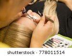 eyelash extension procedure in...   Shutterstock . vector #778011514