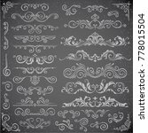 dark  set of swirl elements for ... | Shutterstock . vector #778015504