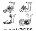 fresh juices set. pineapple ... | Shutterstock .eps vector #778029940