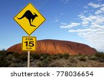 'danger kangaroo' road sign... | Shutterstock . vector #778036654