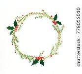 christmas wreath watercolor... | Shutterstock . vector #778053010