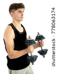 18 year old teenage boy doing exercise - stock photo