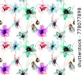 seamless pattern with flowers ... | Shutterstock . vector #778077898