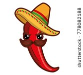 spicy chile with mexican hat... | Shutterstock .eps vector #778082188