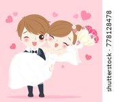 cute cartoon wedding people... | Shutterstock .eps vector #778128478