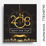 happy new year 2018 with... | Shutterstock .eps vector #778148740