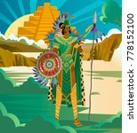 aztec priest king with spear... | Shutterstock .eps vector #778152100
