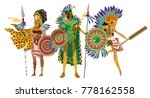 three aztec warriors | Shutterstock .eps vector #778162558