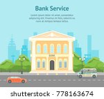 cartoon building bank on a city ... | Shutterstock .eps vector #778163674