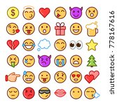 emoji faces simple icons  thin... | Shutterstock .eps vector #778167616