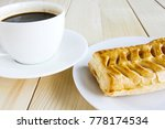 corn pie and coffee cup on... | Shutterstock . vector #778174534