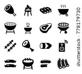 set of 16 grill filled icons... | Shutterstock .eps vector #778179730