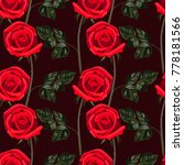 seamless pattern of red flowers ... | Shutterstock .eps vector #778181566