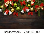 green living spruce branches on ...   Shutterstock . vector #778186180