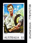 Small photo of MOSCOW, RUSSIA - NOVEMBER 23, 2017: A stamp printed in Australia shows Sergeant, Paintings serie, circa 1974