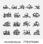 bones and skull icons set.... | Shutterstock .eps vector #778195684