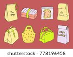 lunch boxes and lunch bags set. ... | Shutterstock .eps vector #778196458