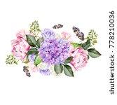watercolor wedding bouquet with ... | Shutterstock . vector #778210036