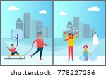 father carrying child on sleigh ... | Shutterstock .eps vector #778227286