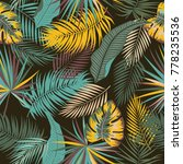 tropical jungle palm leaves...   Shutterstock .eps vector #778235536