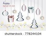 vector white paper christmas... | Shutterstock .eps vector #778244104