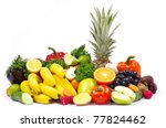 vegetables and fruits on white | Shutterstock . vector #77824462