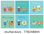 cartoon funny friends fast food ... | Shutterstock .eps vector #778248844