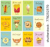 cartoon cards with funny food... | Shutterstock .eps vector #778252570