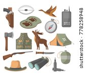 hunting icons set in cartoon... | Shutterstock .eps vector #778258948