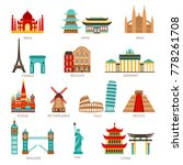 Travel icons set with world famous landmarks and buildings isolated vector illustration | Shutterstock vector #778261708