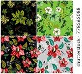 vector seamless pattern flowers ... | Shutterstock .eps vector #778263088
