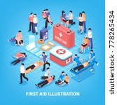 first aid isometric composition ... | Shutterstock .eps vector #778265434
