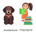 pretty schoolgirl sits on pile... | Shutterstock .eps vector #778278379