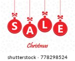 sale word on red christmas... | Shutterstock . vector #778298524
