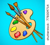 palette with paints and brushes ... | Shutterstock .eps vector #778309714