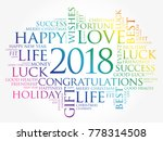 2018 year greeting word cloud... | Shutterstock . vector #778314508
