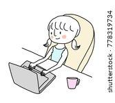 cute little girl using laptop... | Shutterstock .eps vector #778319734