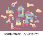 hands holding brick elements... | Shutterstock .eps vector #778346794
