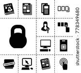 press icons. set of 13 editable ... | Shutterstock .eps vector #778349680