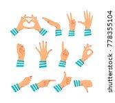 set of women's hands in... | Shutterstock .eps vector #778355104