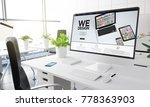 computer with we design at... | Shutterstock . vector #778363903