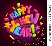 happy new year card. cartoon... | Shutterstock .eps vector #778376260