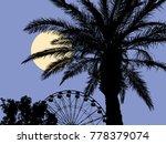 moonlit night at the resort | Shutterstock .eps vector #778379074